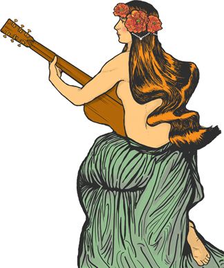Woman Playing Guitar Illustration